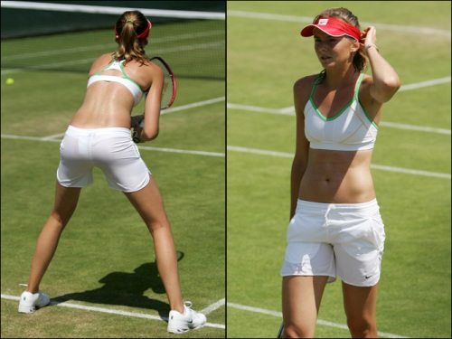 Daniela Hantuchova bending over sexy tight shorts knickers